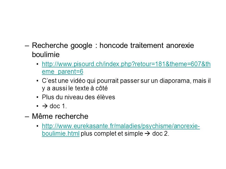 Recherche google : honcode traitement anorexie boulimie