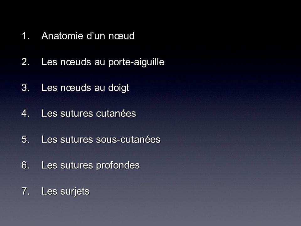 Anatomie d'un nœud Les nœuds au porte-aiguille. Les nœuds au doigt. Les sutures cutanées. Les sutures sous-cutanées.