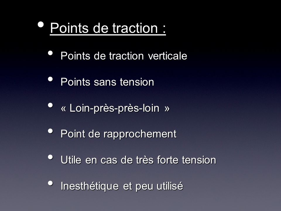Points de traction : Points de traction verticale Points sans tension