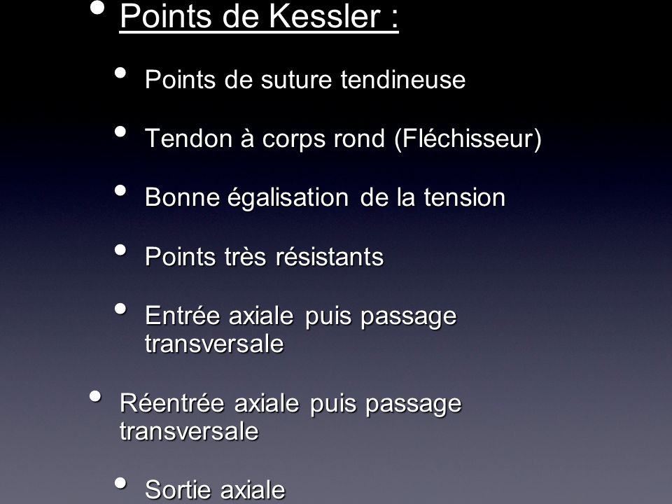 Points de Kessler : Points de suture tendineuse
