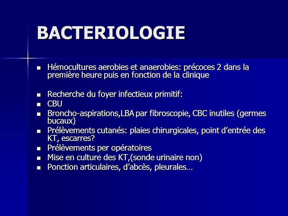 BACTERIOLOGIE Hémocultures aerobies et anaerobies: précoces 2 dans la première heure puis en fonction de la clinique.
