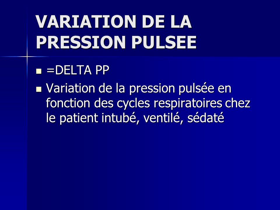 VARIATION DE LA PRESSION PULSEE