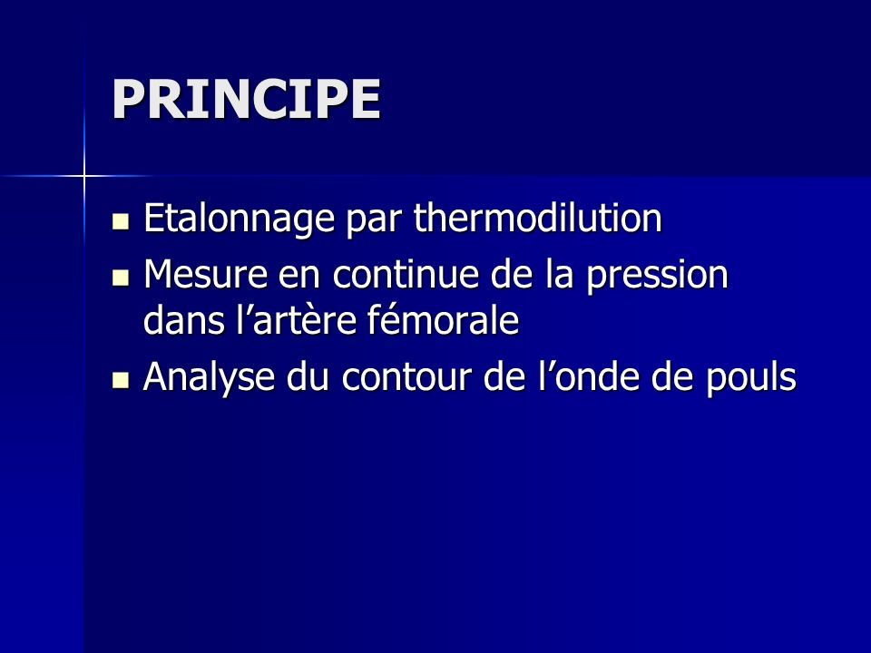 PRINCIPE Etalonnage par thermodilution