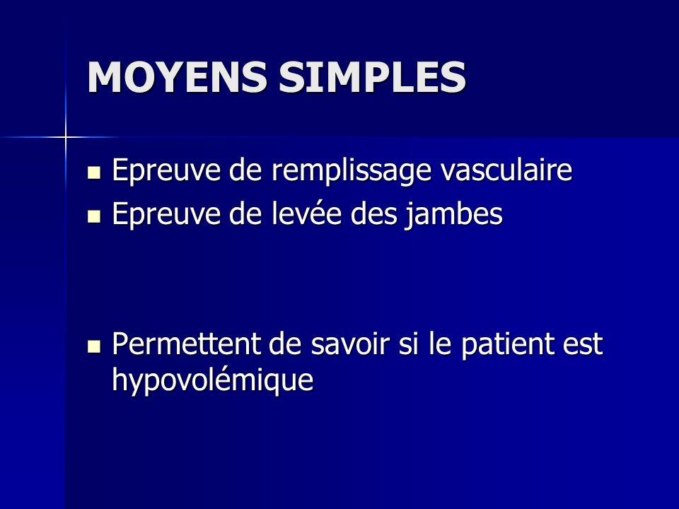 MOYENS SIMPLES Epreuve de remplissage vasculaire