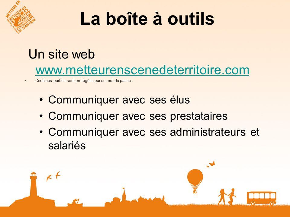 La boîte à outils Un site web www.metteurenscenedeterritoire.com. Certaines parties sont protégées par un mot de passe.