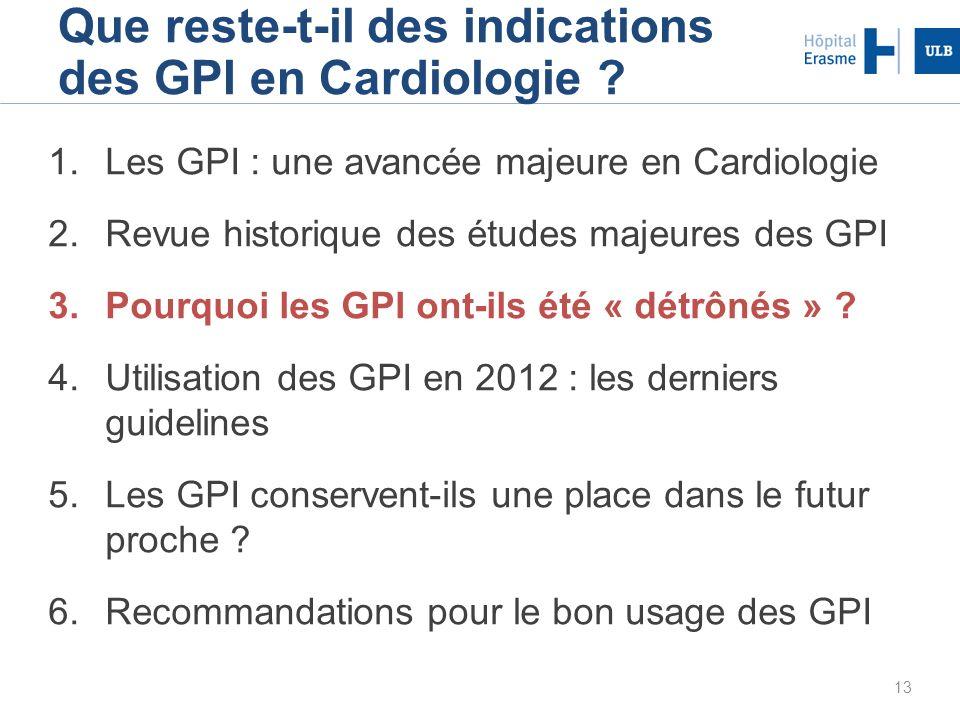 Que reste-t-il des indications des GPI en Cardiologie