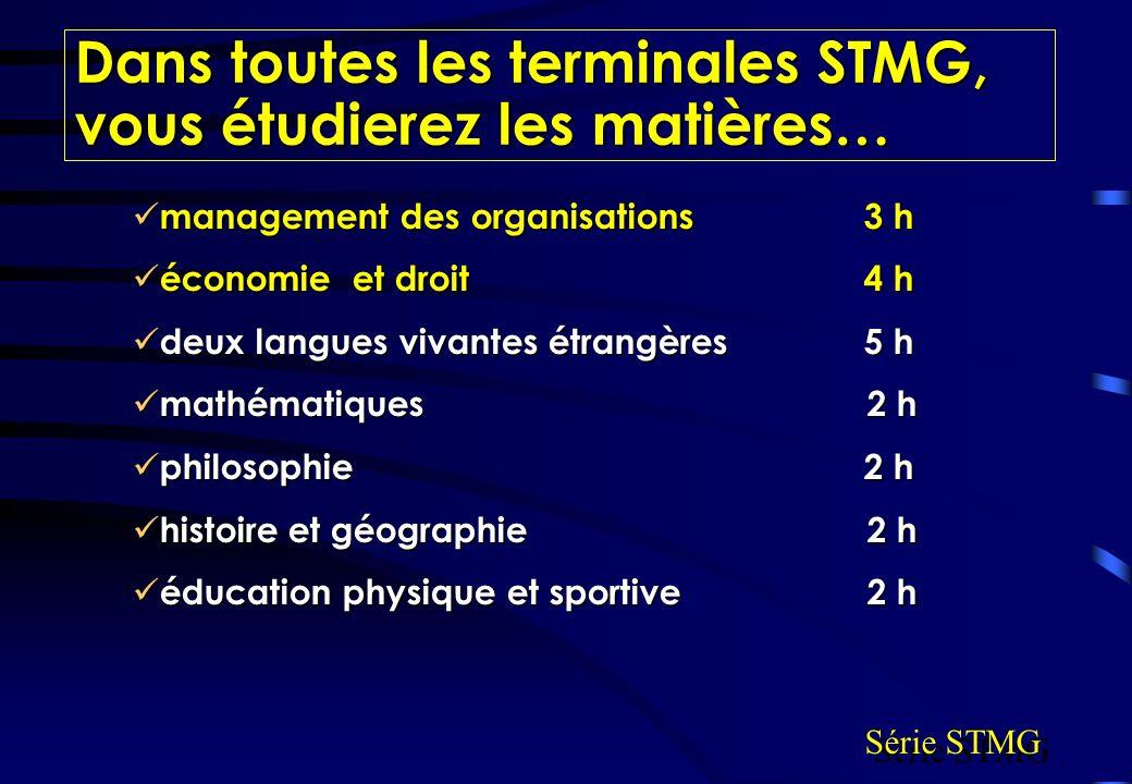Dans toutes les terminales STMG, vous étudierez les matières…