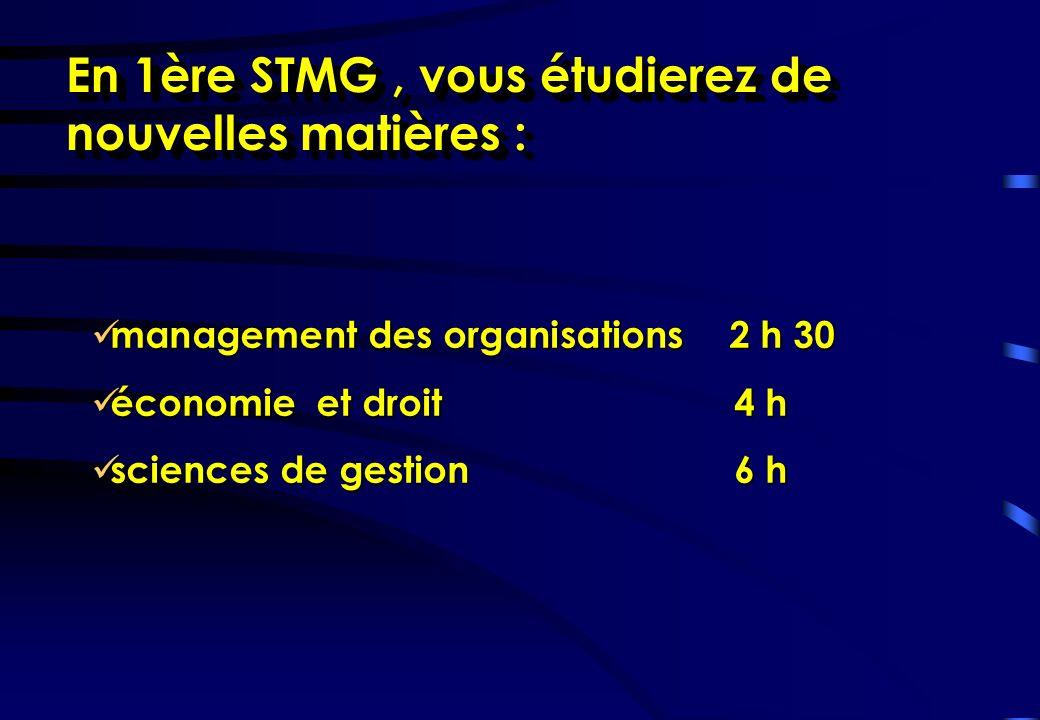 En 1ère STMG , vous étudierez de nouvelles matières :