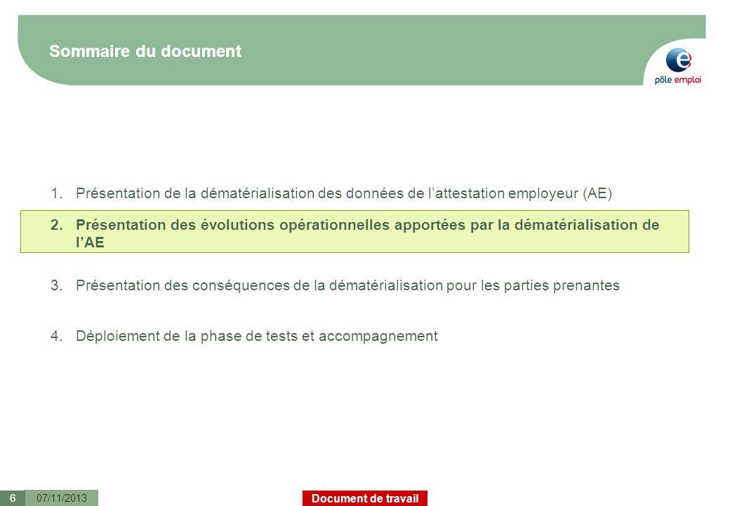 Sommaire du documentPrésentation de la dématérialisation des données de l'attestation employeur (AE)