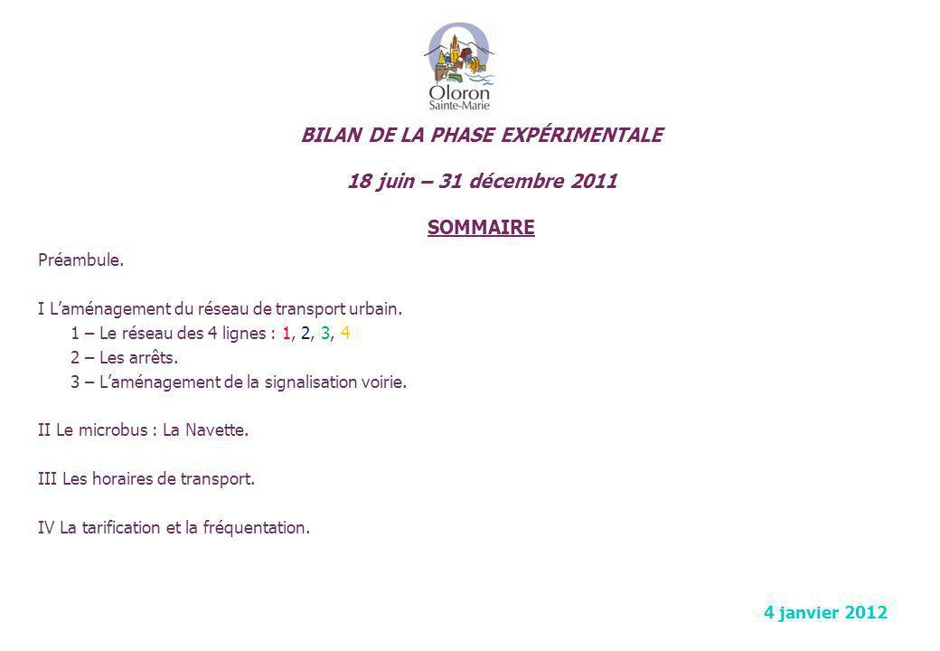 BILAN DE LA PHASE EXPÉRIMENTALE 18 juin – 31 décembre 2011 SOMMAIRE