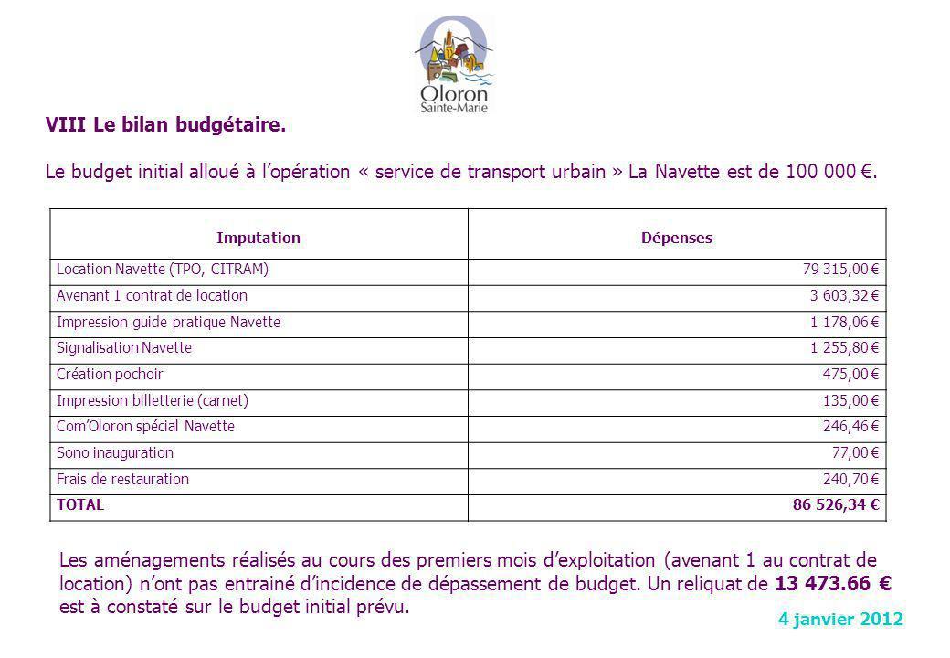 VIII Le bilan budgétaire.