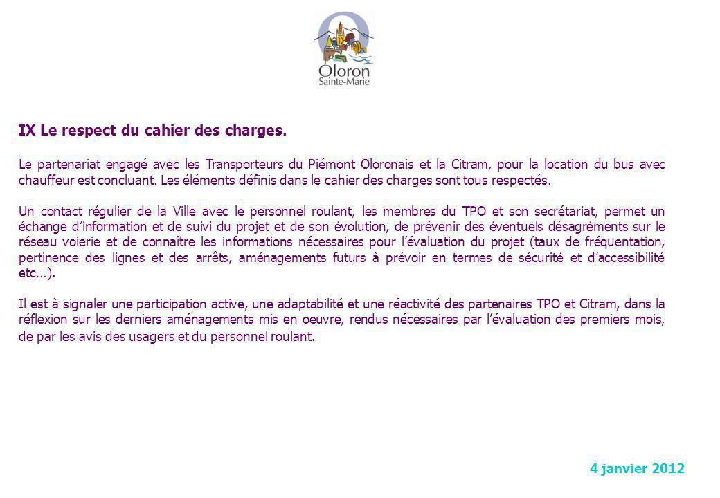 IX Le respect du cahier des charges.