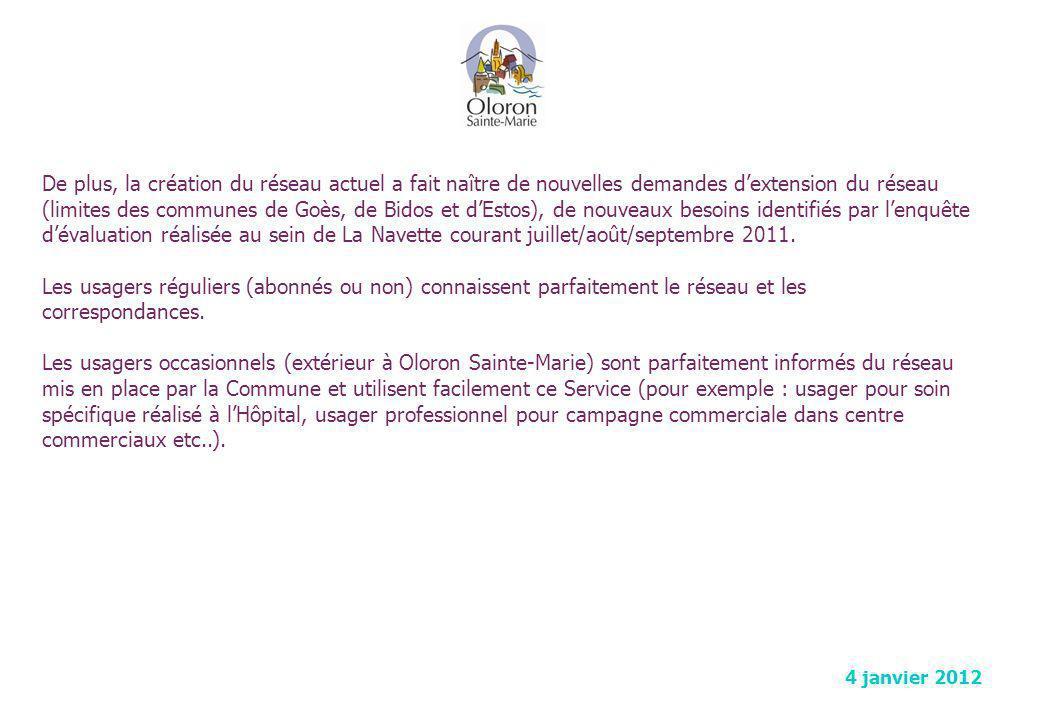 De plus, la création du réseau actuel a fait naître de nouvelles demandes d'extension du réseau (limites des communes de Goès, de Bidos et d'Estos), de nouveaux besoins identifiés par l'enquête d'évaluation réalisée au sein de La Navette courant juillet/août/septembre 2011.