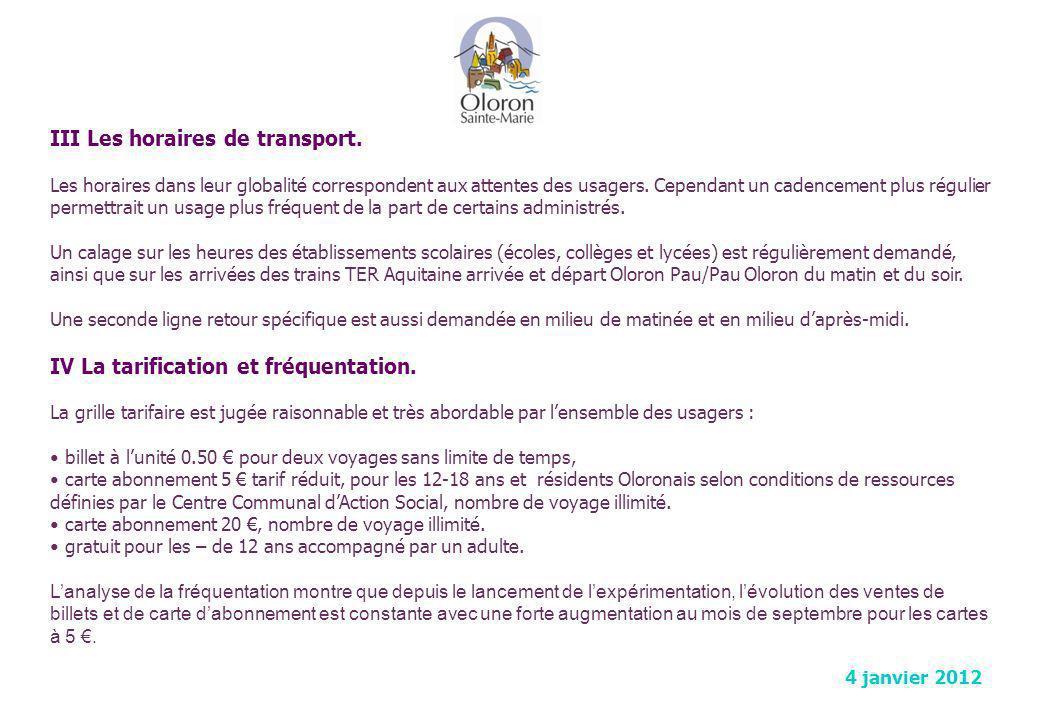 III Les horaires de transport.