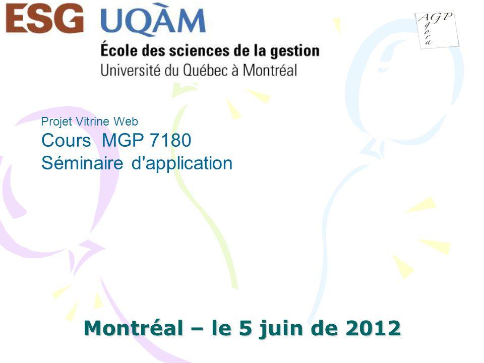 Projet Vitrine Web Cours MGP 7180 Séminaire d application
