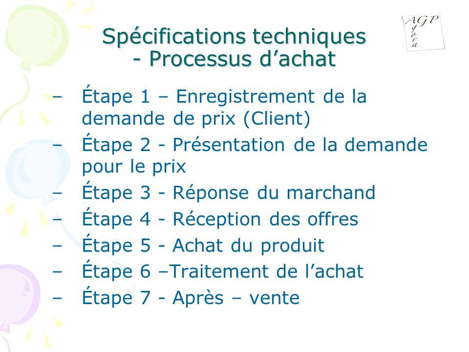 Spécifications techniques - Processus d'achat