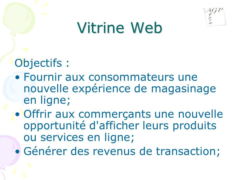 Vitrine Web Objectifs :
