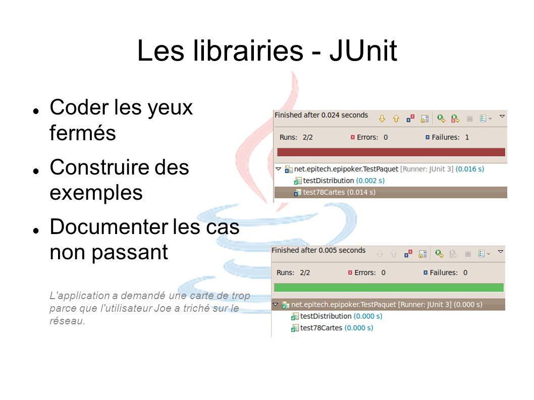 Les librairies - JUnit Coder les yeux fermés Construire des exemples