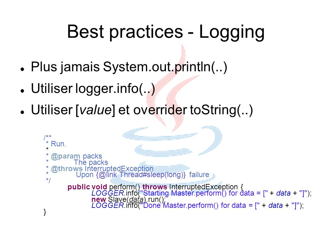 Best practices - Logging