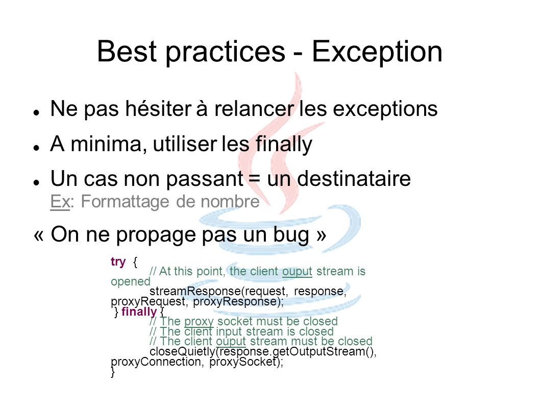 Best practices - Exception