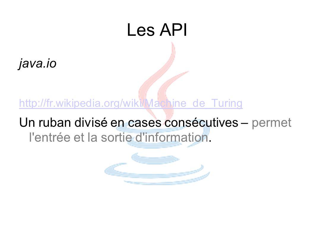 Les API java.io. http://fr.wikipedia.org/wiki/Machine_de_Turing.