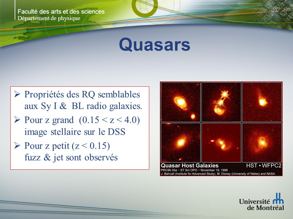 Quasars Propriétés des RQ semblables aux Sy I & BL radio galaxies.