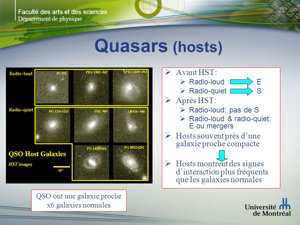 QSO ont une galaxie proche x6 galaxies normales