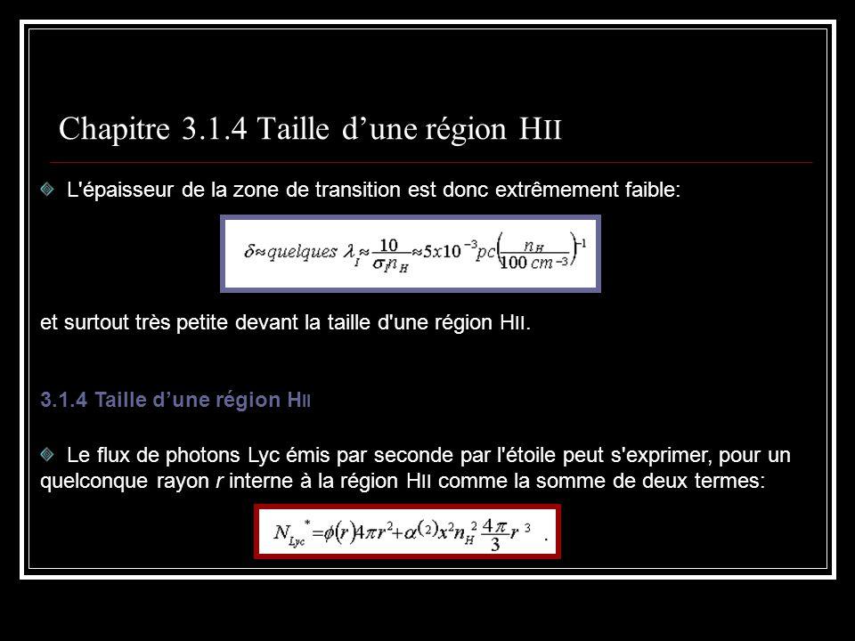 Chapitre 3.1.4 Taille d'une région HII