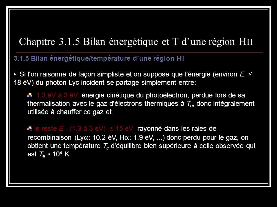 Chapitre 3.1.5 Bilan énergétique et T d'une région HII