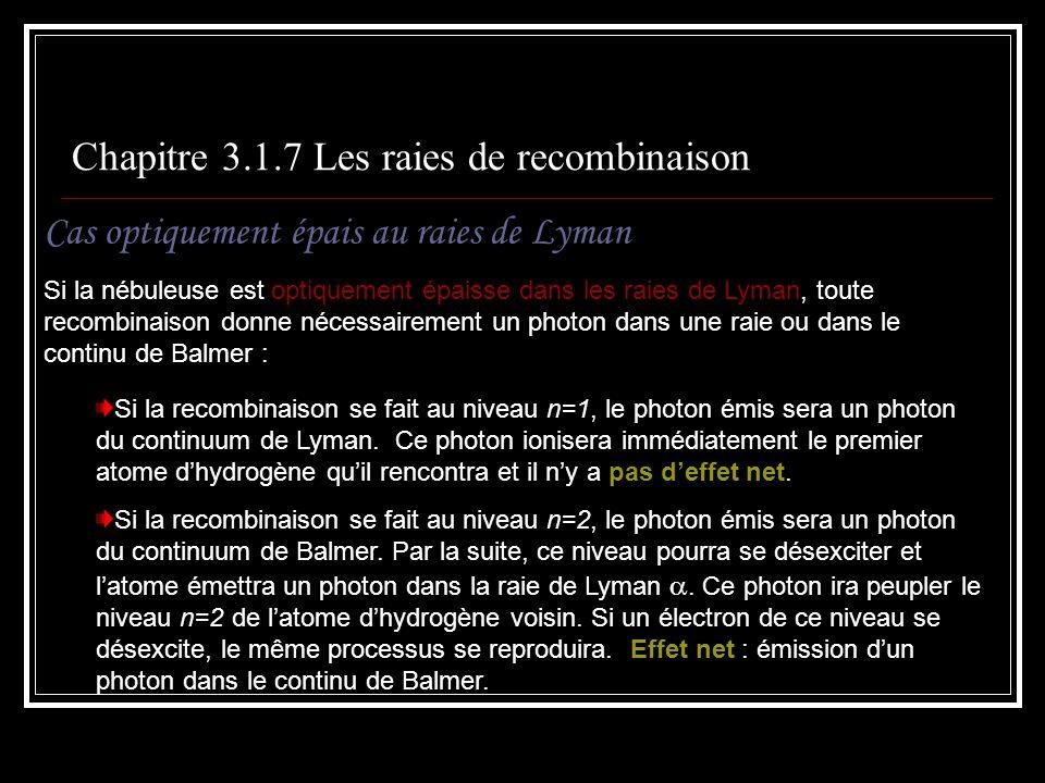 Chapitre 3.1.7 Les raies de recombinaison