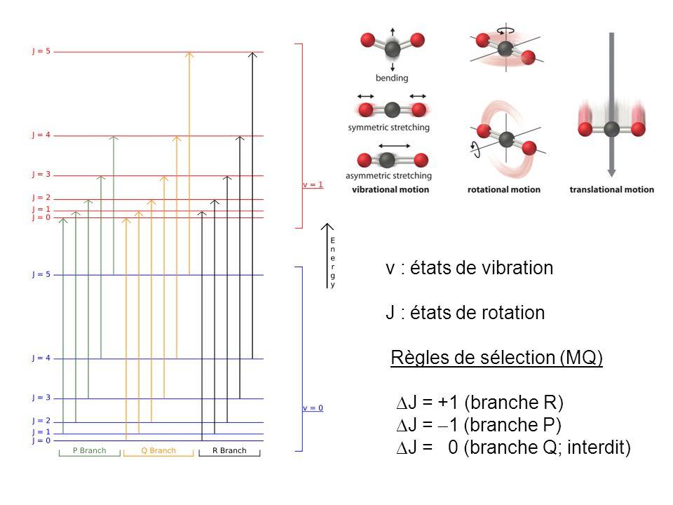 v : états de vibration J : états de rotation. Règles de sélection (MQ) J = +1 (branche R) J = 1 (branche P)