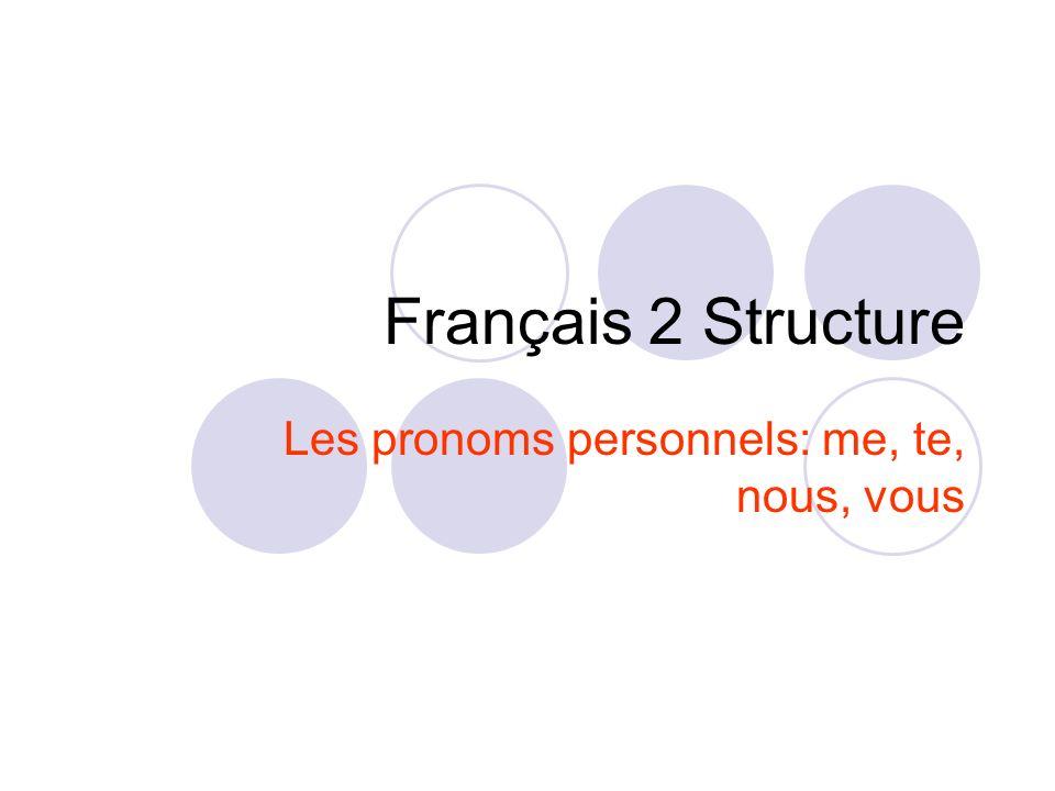 Les pronoms personnels: me, te, nous, vous