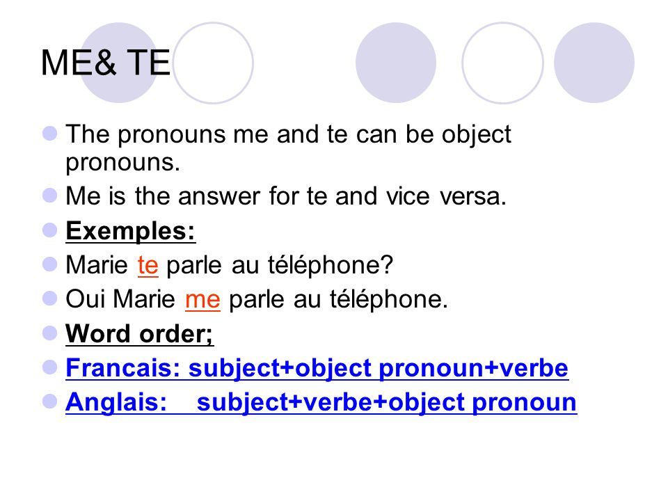 ME& TE The pronouns me and te can be object pronouns.