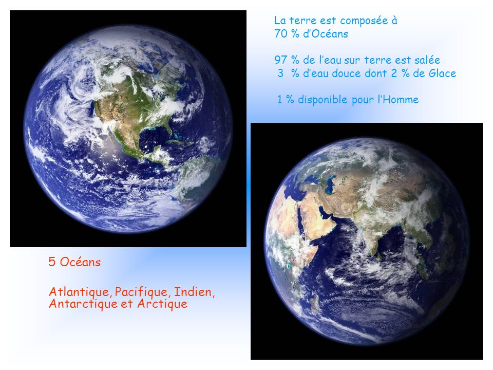 Atlantique, Pacifique, Indien, Antarctique et Arctique