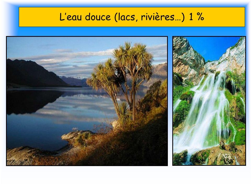 L'eau douce (lacs, rivières…) 1 %