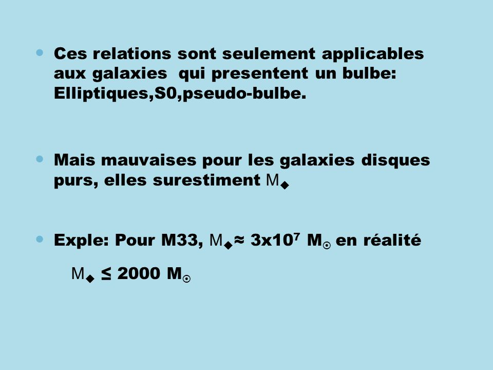 Ces relations sont seulement applicables aux galaxies qui presentent un bulbe: Elliptiques,S0,pseudo-bulbe.