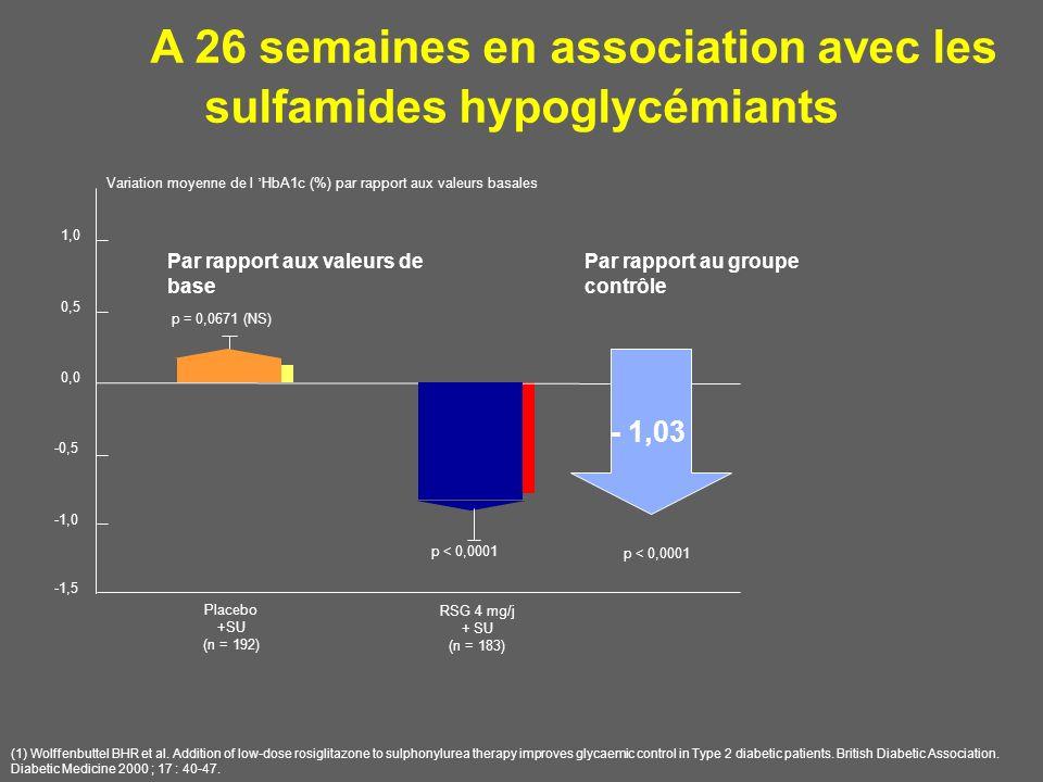 A 26 semaines en association avec les sulfamides hypoglycémiants