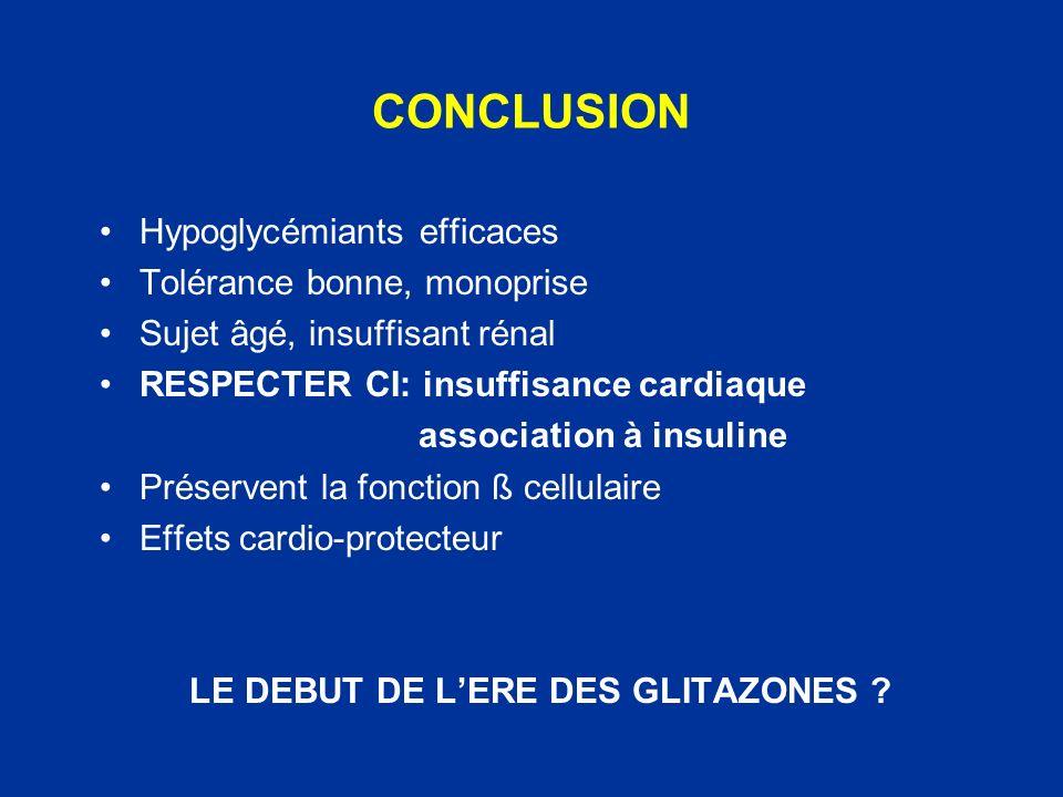 LE DEBUT DE L'ERE DES GLITAZONES