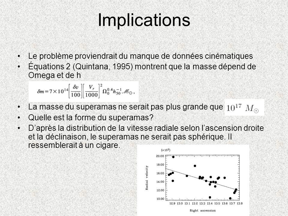 Implications Le problème proviendrait du manque de données cinématiques. Équations 2 (Quintana, 1995) montrent que la masse dépend de Omega et de h.