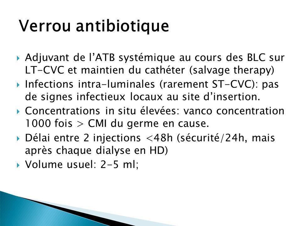 Verrou antibiotique Adjuvant de l'ATB systémique au cours des BLC sur LT-CVC et maintien du cathéter (salvage therapy)