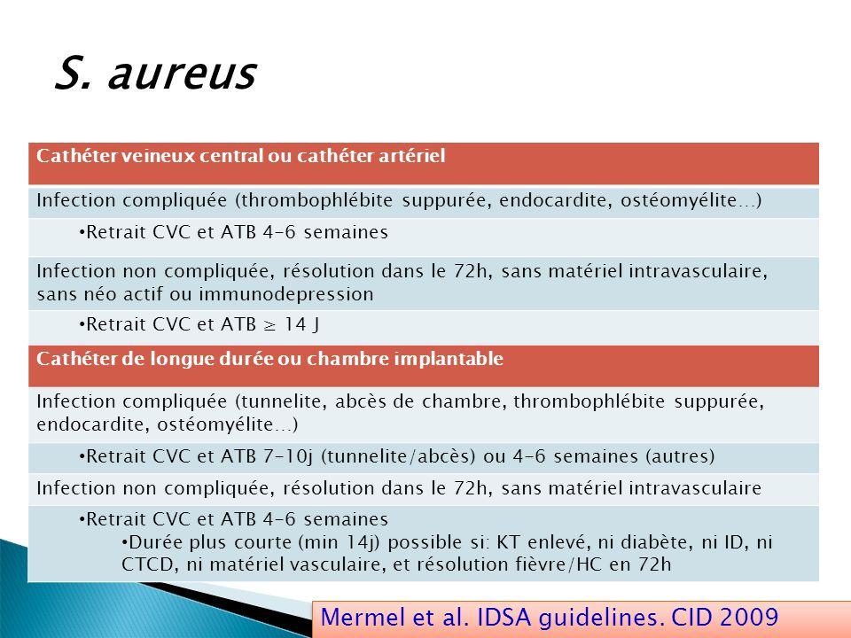 S. aureus Mermel et al. IDSA guidelines. CID 2009