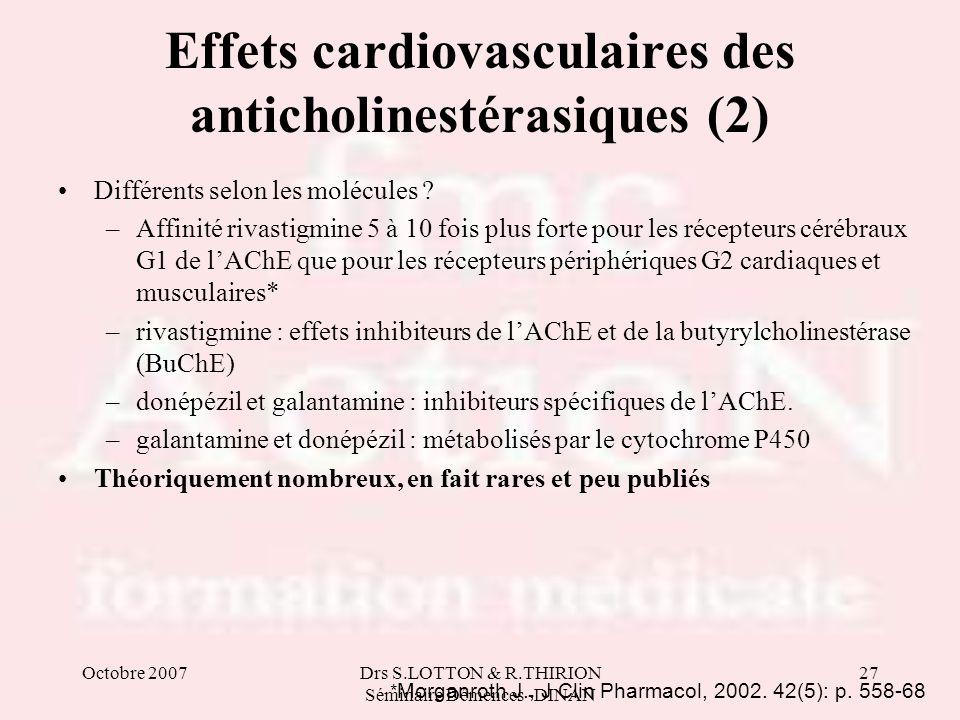 Effets cardiovasculaires des anticholinestérasiques (2)
