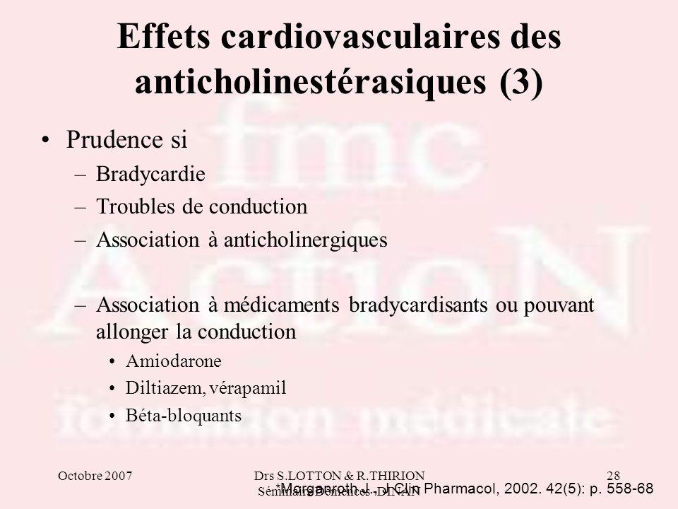 Effets cardiovasculaires des anticholinestérasiques (3)