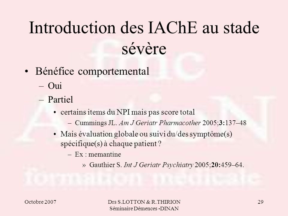 Introduction des IAChE au stade sévère