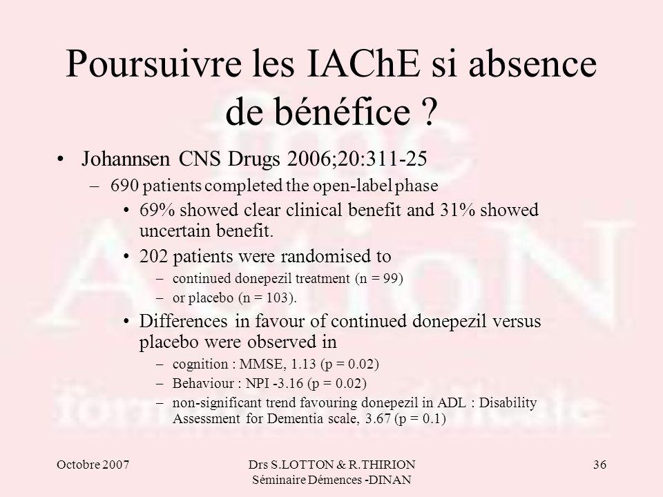 Poursuivre les IAChE si absence de bénéfice