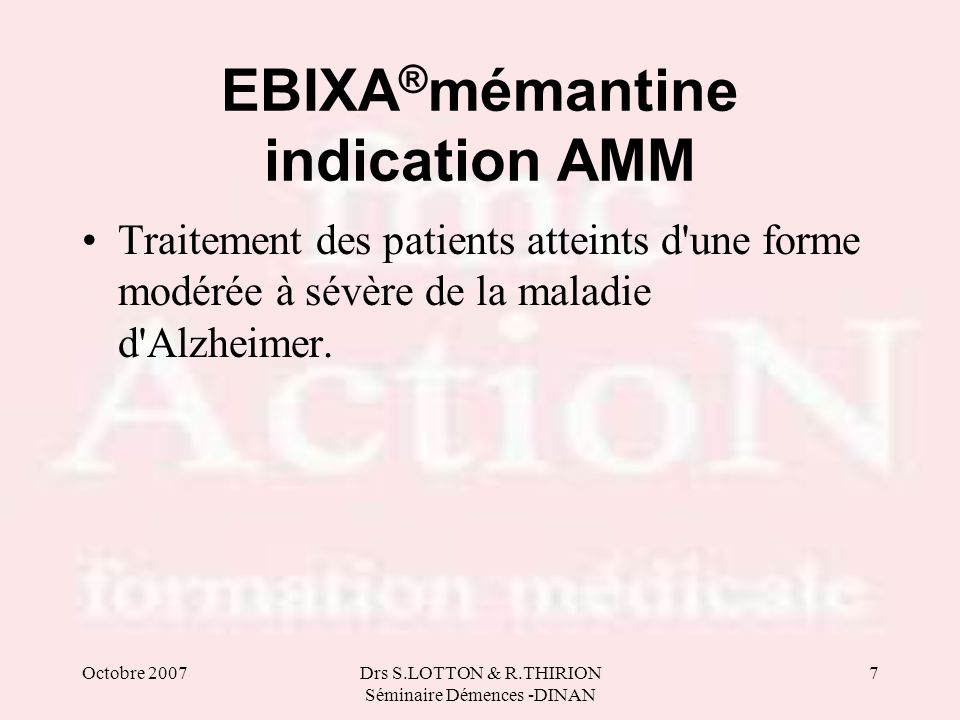 EBIXA®mémantine indication AMM