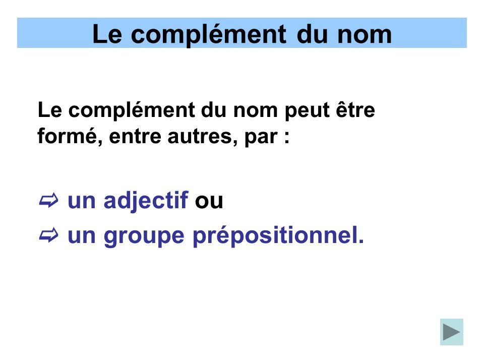 Le complément du nom  un adjectif ou  un groupe prépositionnel.