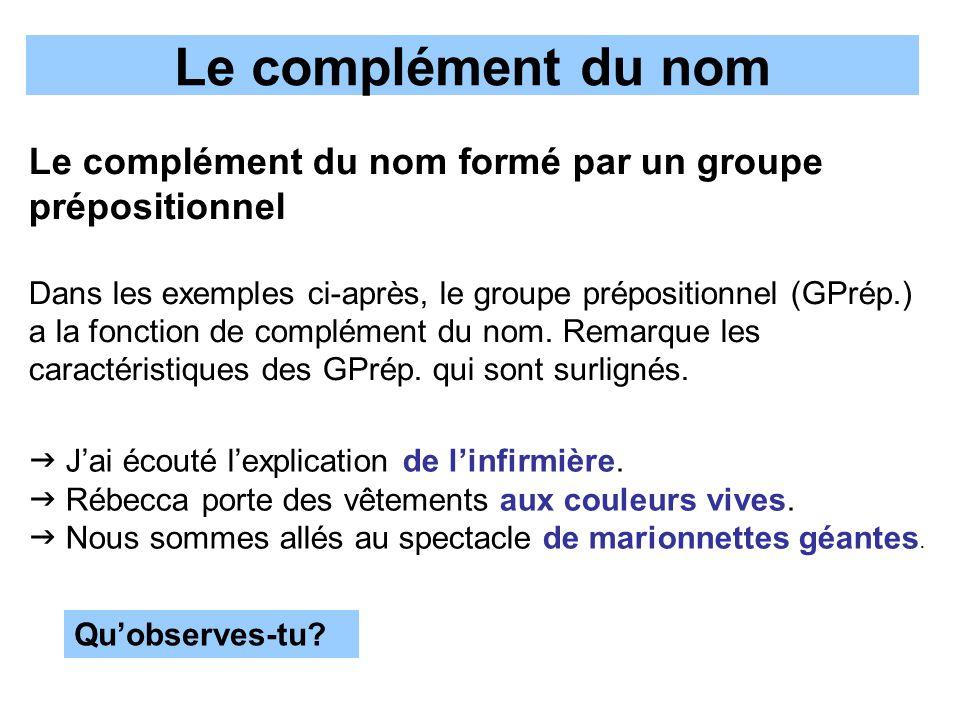 Le complément du nom Le complément du nom formé par un groupe prépositionnel.