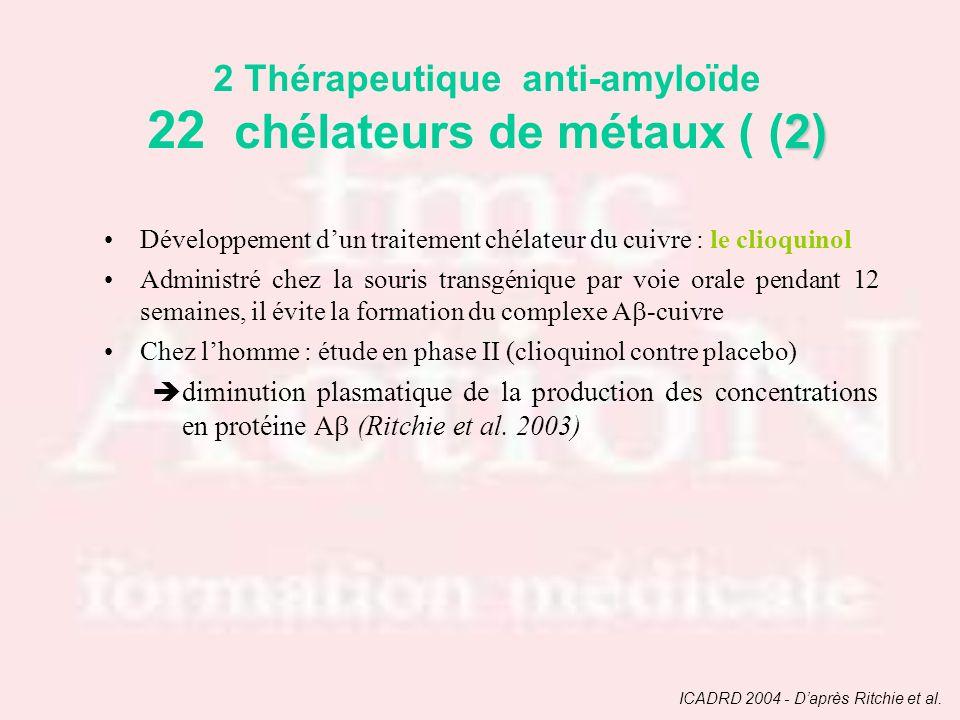 2 Thérapeutique anti-amyloïde 22 chélateurs de métaux ( (2)