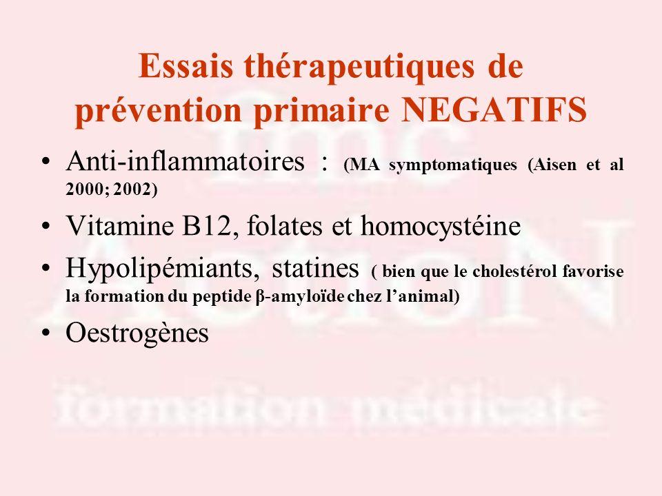 Essais thérapeutiques de prévention primaire NEGATIFS